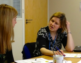 Photo of Helen Ashford and Jody Pritchard in discussion